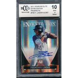2011 Donruss Elite Extra Edition Prospects #P39 Francisco Lindor Autograph #313/557 (BCCG 10)