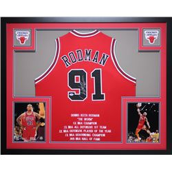 Dennis Rodman Signed Bulls 35x43 Custom Framed Career Highlight Stat Jersey (PSA COA)