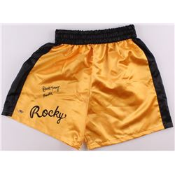 "Burt Young Signed ""Rocky"" Boxing Trunks Inscribed ""Paulie"" (MAB Hologram)"