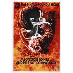 """Kane Hodder Signed """"Jason Goes to Hell: The Final Friday"""" 12x18 Photo Inscribed """"See you in hell!"""""""