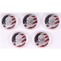 Lot of (5) Donald Trump 2017 Colorized Eagle Novelty Coin