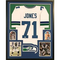 "Walter Jones Signed Seahawks 34x42 Custom Framed Jersey Inscribed ""HOF 14"" (JSA COA)"