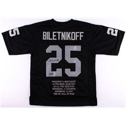 "Fred Biletnikoff Signed Raiders Career Highlight Stat Jersey Inscribed ""HOF '88"" (Biletnikoff Hologr"