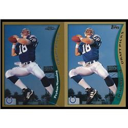 Lot of (2) Pyeton Manning Rookie Cards with 1998 Topps #360 RC  1998 Absolute Hobby #165 RC