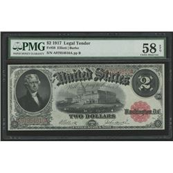 1917 $2 Two Dollars Legal Tender Large Size Bank Note Bill (PMG 58)(EPQ)