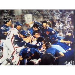 1986 Mets 16x20 Photo Team-Signed by (35) with Darryl Strawberry, Ray Knight, Terry Leach, Keith Her