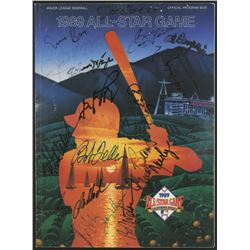 "1989 All-Star Game 8"" x 11"" Program Signed by (18) With Ernie Banks, Joe DiMaggio, Bob Feller, Gary"
