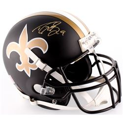 Drew Brees Signed Saints Custom Matte Black Full-Size Authentic On-Field Helmet (Brees Hologram)