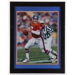 John Elway Signed Broncos 21x27 Custom Framed Photo Display (Radtke Hologram)