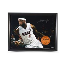 LeBron James Signed Heat 35x47 Custom Framed Limited Edition Photo (UDA)
