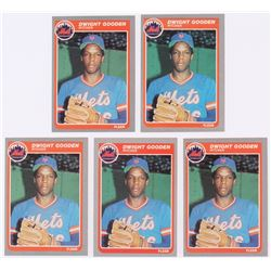 Lot of (5) 1985 Fleer #82 Dwight Gooden RC