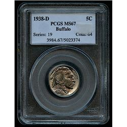 1938-D Buffalo Nickel (PCGS MS 67)
