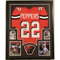 "Jabrill Peppers Signed Browns 34"" x 42"" Custom Framed Jersey (JSA COA)"