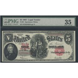 1907 $5 Five Dollars Legal Tender Red Seal Large Size Bank Note Bill (PMG 35)