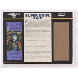 Commemorative Super Bowl XXIV Scorecard With 22kt Gold Ticket: 49ers vs Broncos