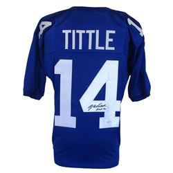"Y. A. Tittle Signed Giants Pro-Style Jersey Inscribed ""HOF 71"" (JSA COA)"