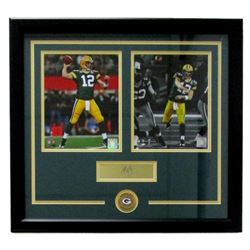 Aaron Rodgers Packers 21x23 Custom Framed Photo with Laser Engraved Signature