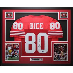 Jerry Rice Signed 49ers 35x43 Custom Framed Jersey (TriStar)