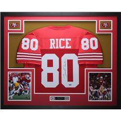"Jerry Rice Signed 49ers 35"" x 43"" Custom Framed Jersey (TriStar)"