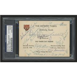 1958 Detroit Tigers Old Timers Day Dinner Invitation Signed by (23) with Ty Cobb, Jimmie Foxx, Mel O