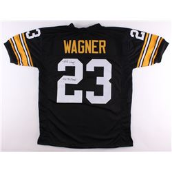 "Mike Wagner Signed Steelers Jersey Inscribed ""4x SB Champ's"" (TSE Hologram)"