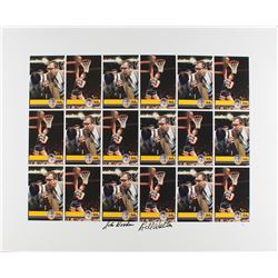 John Wooden  Bill Walton Dual Signed UCLA Uncut Trading Card Sheet (JSA COA)