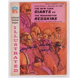 "Y. A. Tittle Signed Vintage 1964 Giants vs. Redskins Regular Season Game Program Inscribed ""HOF 71"""
