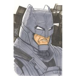 "Tom Hodges - Batman ""Batman V Superman"" Signed ORIGINAL 5.5"" x 8.5"" Color Drawing on Paper (1/1)"