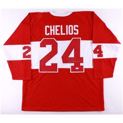 Chris Chelios Signed Red Wings Throwback Jersey (JSA COA)