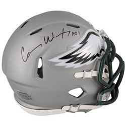 Carson Wentz Signed Eagles Blaze Mini Speed Helmet (Fanatics)