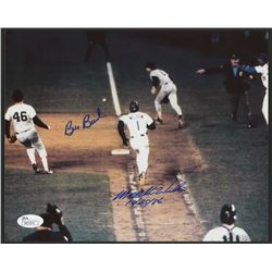 "Bill Buckner  Mookie Wilson Signed 1986 World Series 8x10 Photo Inscribed ""10/25/86"" (JSA COA)"