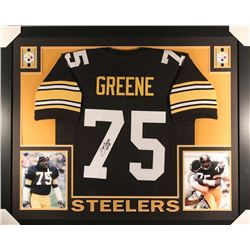 "Joe Greene Signed Steelers 35x43 Custom Framed Jersey Inscribed ""HOF 87"" (JSA COA)"
