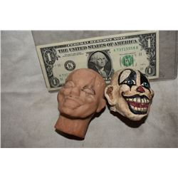 CREEPY CLOWN PUPPET HEADS LOT OF 2