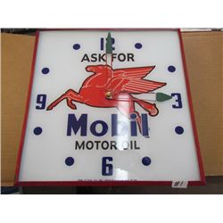 "Pam Clock Company ""Mobil Oil"" Clock with plug in (glass) 15x15"