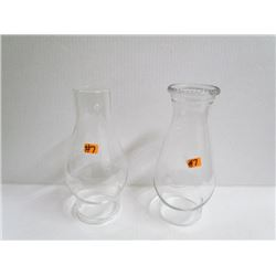 2 Glass Oil Lamp Shades