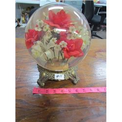 Vintage Glass Flower Globe on stand