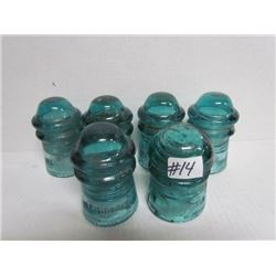 6 Hemingray + Brooksfield blue glass insulators