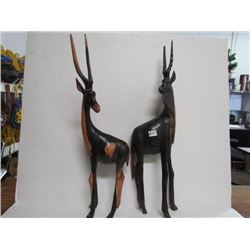 2-22 inch tall Wood Carved African Gazelles