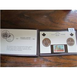 Folder Jaques Cartier-2coins, 1 stamp