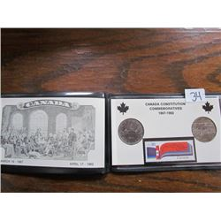 Folder Canadian Constitution- 2coins, 1 stamp
