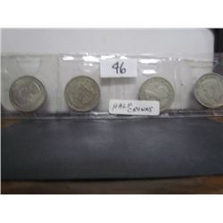 Display 4 British 1/2 coins 1947,1956,1967