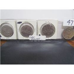 Display 4 Canadian Dollars 1968,1969,1980,1981