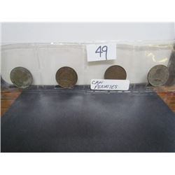 Display 4 Canadian Large pennies 2-1918 and 2-1919