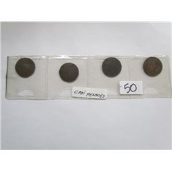 Display 4 Large Canadian Pennies 1859,1876,1903,1906
