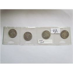 Display 4 Candian 50cent coins 1968,1969,1970,1972