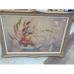 Flower + Bird Unmarked Framed Print
