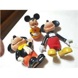 3 Older Mickey Mouse Toys + Piggy Bank