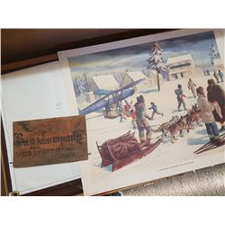 Wooden tobacco crate end and Hudson Bay old print