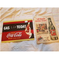 Tin Coke Sign + 7 up Ad paper