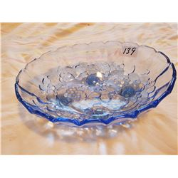 Blue Fruit Glass Dish Footed